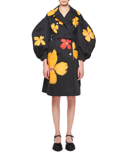 Floral Belted Puff-Sleeve Trench Coat