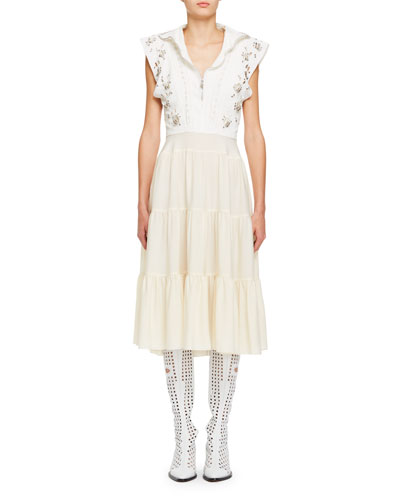 Broderie Anglaise Silk Cady Victorian-Style Midi Dress