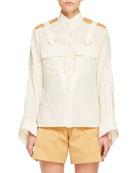 Long-Sleeve Contrast-Shoulder Button-Front Safari Blouse