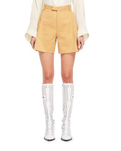 Safari-Style Zip-Fly Cotton Gabardine Shorts
