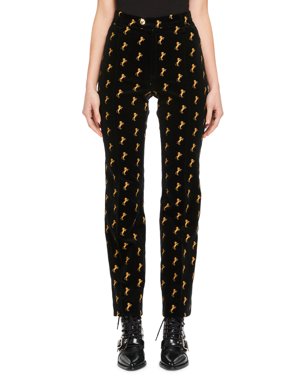 Outlet Finishline Buy Cheap Genuine Chloé Velvet Mid-Rise Pants Outlet With Paypal Order Online wnBE0