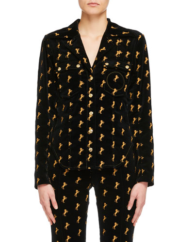 Horse-Embroidered Velvet Shirt