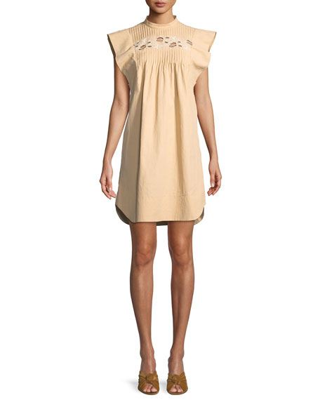 Chloe Short Flutter-Sleeve Coated Linen Dress with Cutout Details