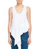 Sleeveless Asymmetric-Hem Jersey Top