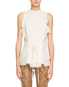 Sheer Crepe Sleeveless Draped Blouse