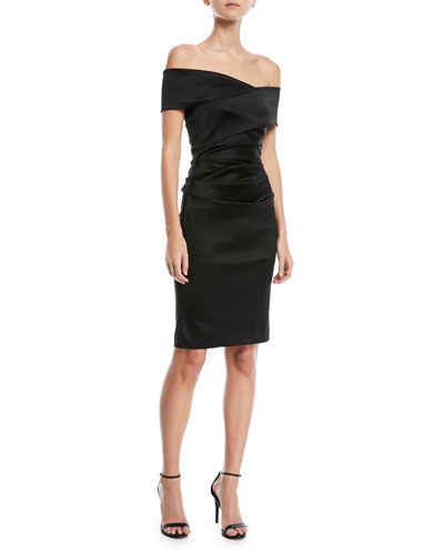 Poe1 Crossover Satin Cocktail Dress