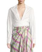 Plunging Wrap-Front Cotton Poplin Shirt