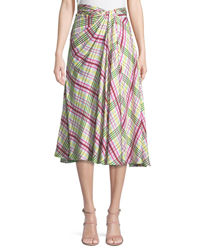 Twist-Front A-Line Plaid Silk Twill Skirt with Side Slit