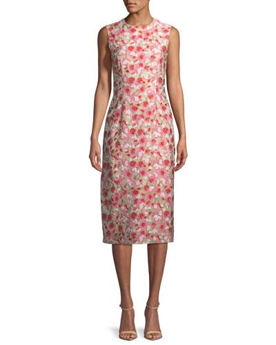 Sleeveless Jewel-Neck Floral-Matelassé Sheath Dress