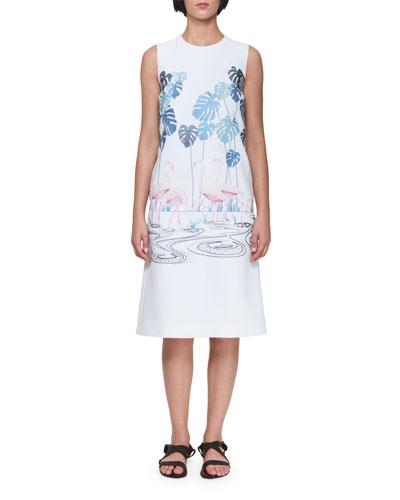 Sleeveless A-Line Midi Dress with Flamingo Flock & Palm Trees