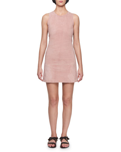 Crewneck Sleeveless Fitted Skimmer Suede Mini Dress