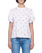 Flamingo-Print Crewneck Short-Sleeve Cotton T-Shirt