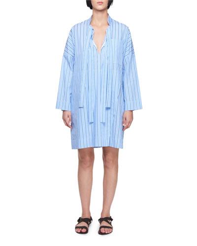 Tie-Neck Long-Sleeve Striped Cotton Dress