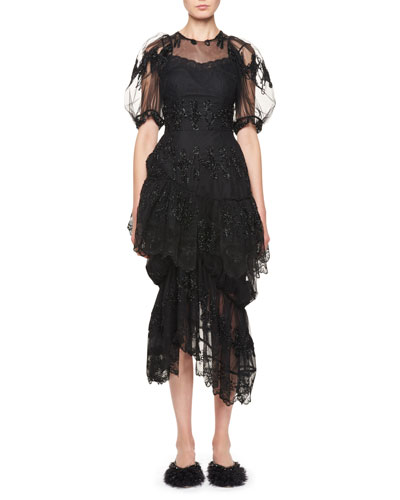 Asymmetric Ruffled Cocktail Dress with Fuzzy Doll Embroidery