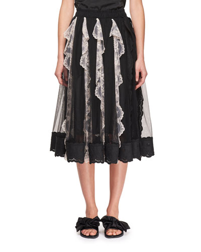 Tulle Midi Skirt with Vertical Lace Panels