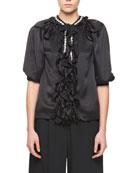 Puff-Sleeve Silk Blouse with Jewel & Ruffle Detail
