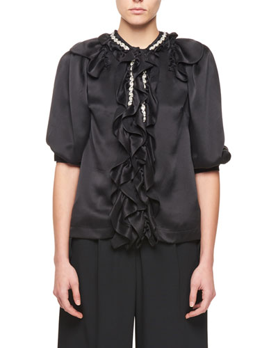 Puff-Sleeve Silk Blouse with Jewel & Ruffle Detail