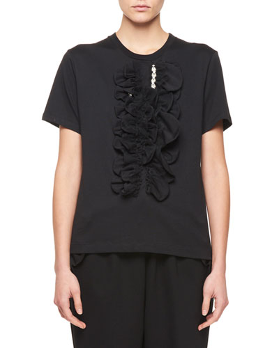T-Shirt with Beaded Jabot