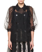 Double-Breasted Puff Elbow-Sleeves Sheer Top