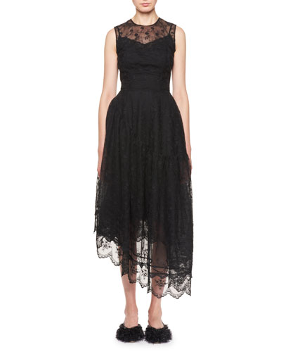 Asymmetric Ruffled Lace Cocktail Dress