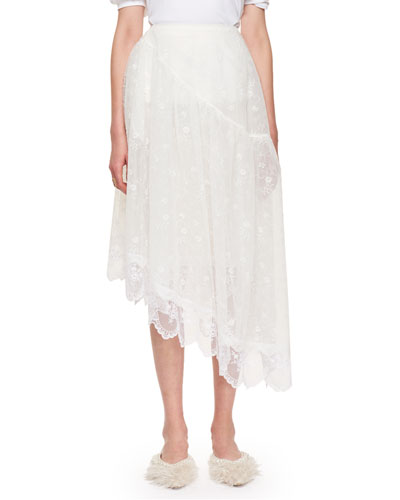 Asymmetric Petal Lace Midi Skirt