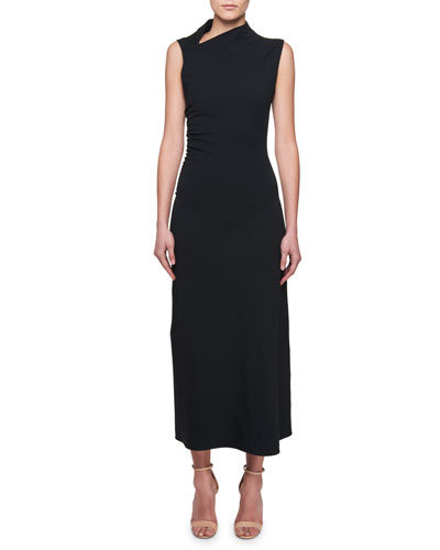 Sleeveless Cowl-Neck Shirred-Sides A-Line Dress