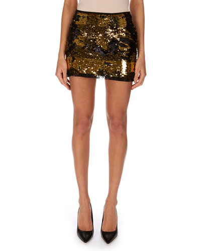 Mixed Paillettes Fitted Mini Skirt