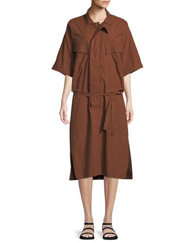 Half-Sleeve Button-Down Belted Safari Poplin Dress