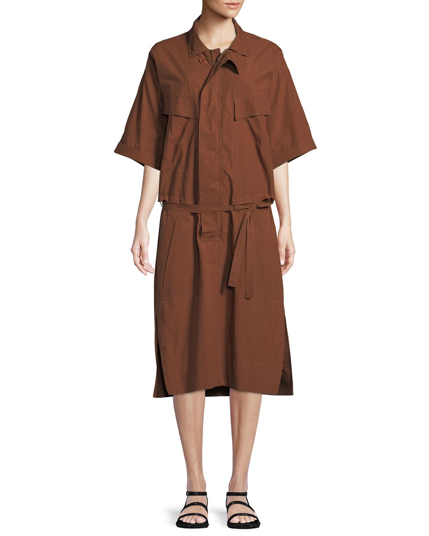 Urban Zen HALF-SLEEVE BUTTON-DOWN BELTED SAFARI POPLIN DRESS