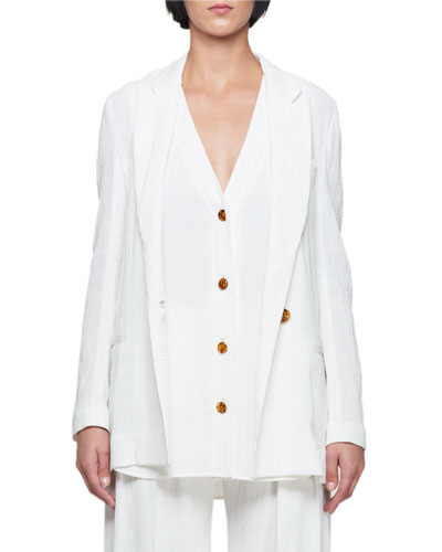 One-Button Peak-Lapel Oversized Blazer