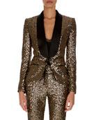 Shawl-Collar One-Button Golden Paillettes Blazer