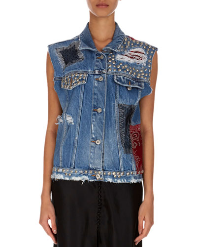 Sleeveless Button-Front Denim Jacket with Patches & Studs