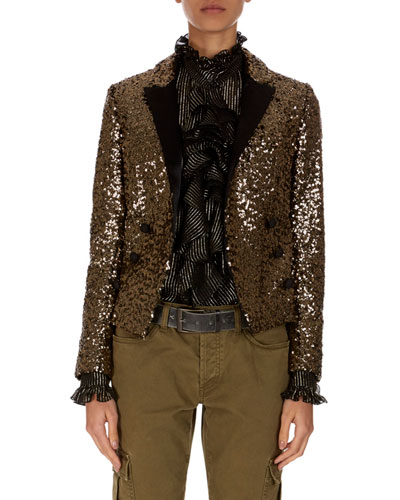 Spencer Golden-Paillette Double-Breasted Jacket