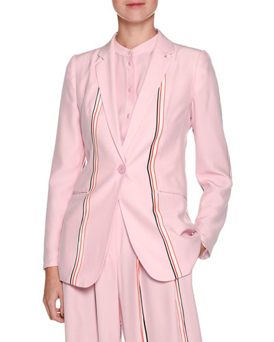 Single-Breasted Sport-Stripe Silk Blazer