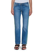 Straight-Leg Jeans with Multicolor Ribbon Sides