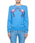 Crewneck Long-Sleeve Wool Sweater w/ Sequin Flamingos