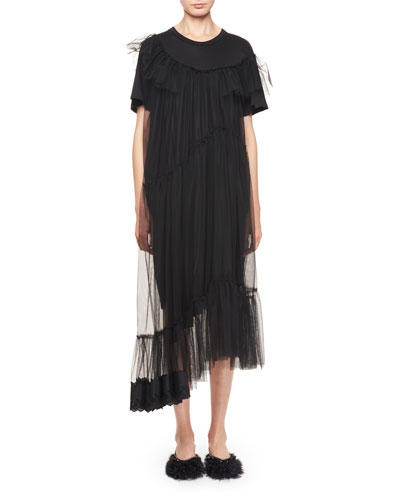 Asymmetric T-Shirt Dress with Tulle Overlay