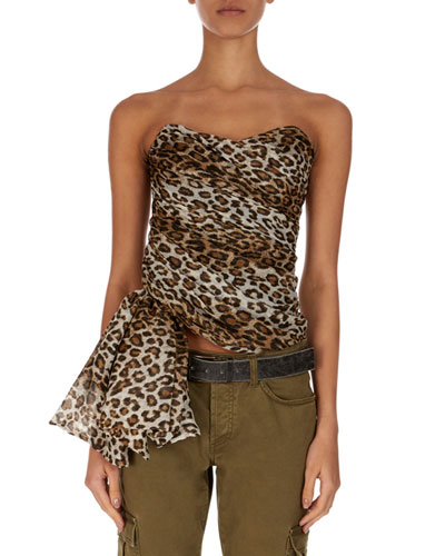 3712f4ff22ece9 Quick Look. Redemption · Strapless Asymmetric Leopard-Print Blouse
