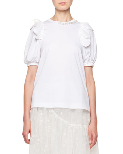 Crewneck Puff-Sleeve T-Shirt with Pearlescent Embroidery