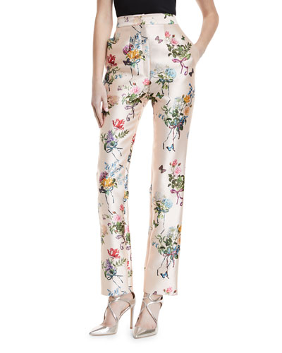 High-Waist Botanical-Print Straight-Leg Mikado Pants