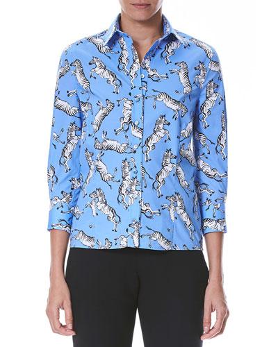 Collared Zebra-Print Button-Front Cotton Shirt