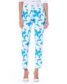 Iris Spring Side-Zip Cotton Faille Straight-Leg Pants