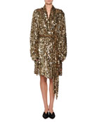 Allover Dripping Sequins Belted Tulle Jacket Dress