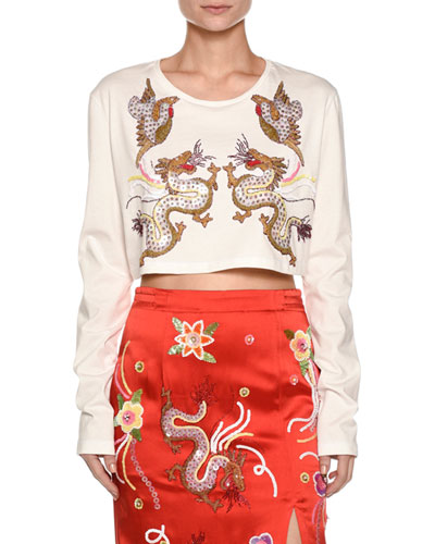 Embroidered-Dragon Jersey Crop Top