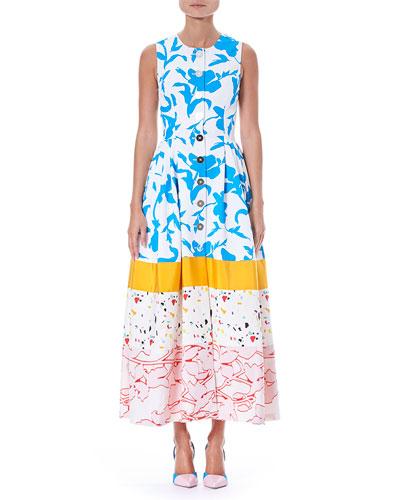 Sleeveless Button-Front Multi-Print Colorblock Long Shirtdress