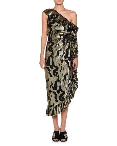 bcb98501c0 Quick Look. Attico · One-Shoulder Metallic-Chiffon Ruffled Cocktail Dress