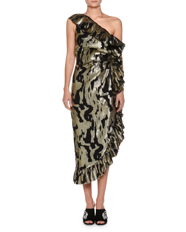 One-Shoulder Metallic-Chiffon Ruffled Cocktail Dress