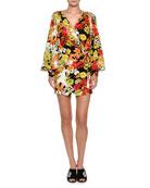 Floral-Print Cady Crepe Robe Wrap Dress