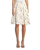 Terrazzo-Print A-Line Cotton Faille Party Skirt