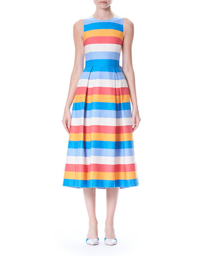 Back-Bow Tie Sleeveless Multi-Stripe A-Line Dress